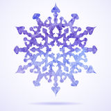 Watercolor blue painted Christmas snowflake Royalty Free Stock Image