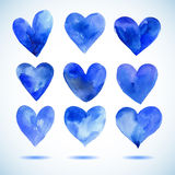 Watercolor blue painted heart set,vector elements for your design Stock Photos
