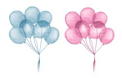 Watercolor blue and pink balloons for happy birthday