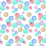 Watercolor blue and pink bubbles on white background. Seamless pattern vector illustration