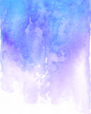 Watercolor blue and purple background flow. Light blue splash Stock Photography