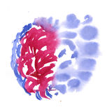 Watercolor blue red blobs on white background, abstract stains isolated. illustration the watercolor Royalty Free Stock Photos