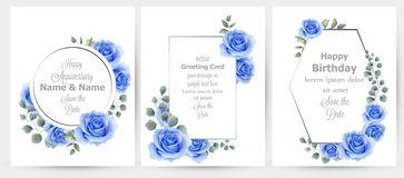 Watercolor blue rose flowers cards set collection Vector. Vintage greeting card, wedding invitation, thank you note. Summer floral decor. flower wreath frames royalty free illustration