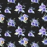 Watercolor blue roses bouquets seamless pattern. Hand painted on a dark background Stock Images