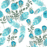 Watercolor blue roses and feathers on white Royalty Free Stock Image