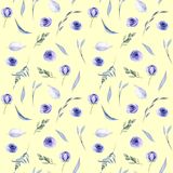 Watercolor blue roses, flowers leaves and branches seamless pattern. Hand painted on a yellow background Royalty Free Stock Photos
