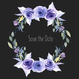 Watercolor blue roses, plants and herbs wreath, greeting card template, hand painted on a dark background. Save the date card design Stock Images
