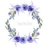 Watercolor blue roses, plants and herbs wreath, greeting card template, hand painted on a white background. Save the date card design Royalty Free Stock Images