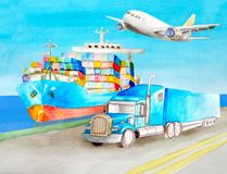 Watercolor blue semi-trailer tractor  truck standing on the shore on the road near the blue cargo container ship on water ready to royalty free illustration