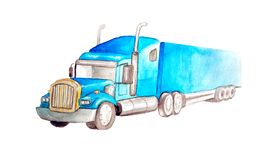 Watercolor blue semi-trailer truck as a tractor unit and semi-trailer to carry freight. In white background isolated stock illustration