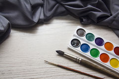 Watercolor with blue silk background Royalty Free Stock Image