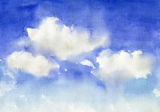 Watercolor blue sky with clouds royalty free illustration