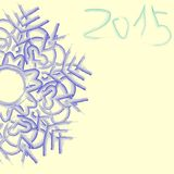 Watercolor blue snowflake. New Year 2015 watercolor blue snowflake on a white background vector illustration