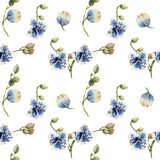 Watercolor blue spotted orchids seamless pattern. Hand painted on a white background Stock Image