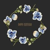 Watercolor blue spotted orchids wreath, hand painted on a dark background. Happy birthday card design Royalty Free Stock Photos
