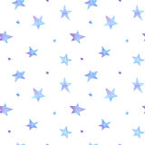 Watercolor blue stars pattern royalty free stock image