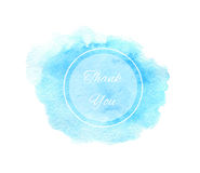 Watercolor blue texture with circle frame and thank y Royalty Free Stock Image