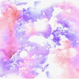 Watercolor blue texture with pink drops.  royalty free stock photos