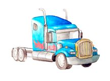 Watercolor blue tractor monster truck without a body with a pattern of fire on the side. Transformer. Isolated on a white royalty free illustration