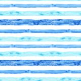 Watercolor blue stripe seamless pattern. Summer hand painted background with stripes. Nautical marine print. Watercolor blue stripe seamless pattern on white stock illustration