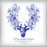 Watercolor blue vector deer with antlers . Royalty Free Stock Image