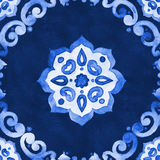 Watercolor blue velour  pattern. Watercolor royal blue velour seamless pattern, renaissance tiling ornament. Delicate filigree openwork lace pattern. Blue velvet Royalty Free Stock Photography