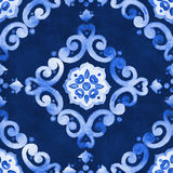 Watercolor blue velour pattern royalty free stock photo