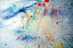 Watercolor blue vivid splashes and abstract background. Watercolor blue vivid abstract splashes background in yellow, blue, pink, green and red strokes of brush Royalty Free Stock Images