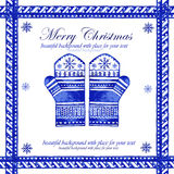 Watercolor blue winter background with mittens. Royalty Free Stock Photos