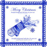 Watercolor blue winter background with mittens. Stock Photography