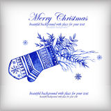 Watercolor blue winter background with mittens. Stock Images