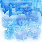 Watercolor blue winter background Royalty Free Stock Photo