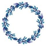 Watercolor blue wreath frame. Botanical floral clip art. White background vector illustration