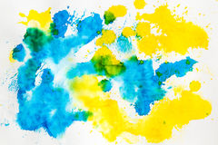 Watercolor blue yellow abstract background Royalty Free Stock Photos