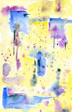 Watercolor blue-yellow abstract background. Watercolor painting. Yellow abstract background with blue-purple stains Royalty Free Stock Photos