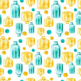 Watercolor Blue And Yellow Bottles And Spots Seamless Pattern Royalty Free Stock Image