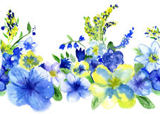 Watercolor blue and yellow flowers Stock Photos