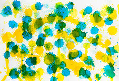 Watercolor blue yellow mix abstract background Royalty Free Stock Images