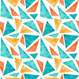 Watercolor Blue And Yellow Triangles Seamless Pattern Royalty Free Stock Photography