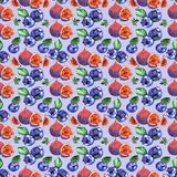 Watercolor blueberries and fig seamless pattern. Watercolor blueberries and fig  illustration, on blue background Royalty Free Stock Photo