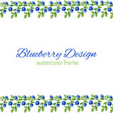 Watercolor blueberries, Frame, border Hand drawn illustration, Can be used for banner, cards, wedding invitations vector illustration