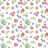 Watercolor blueberry, strawberry and raspberries seamless pattern on white background. royalty free stock photography