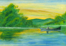 Watercolor boat on lake. Hand painted peacefull watercolor lake with a boat and vegetation Royalty Free Stock Photography