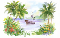 Watercolor Boat on river water vector illustration Stock Image