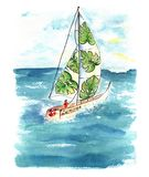 Watercolor boat with sails at the sea. stock photo