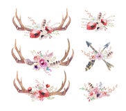 Watercolor bohemian deer horns. Western mammals. Watercolour hip. Ster boho decoration print antlers. flowers, feathers. , white background. Boho antler. Hand stock illustration