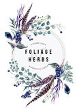 Watercolor Boho Card with Foliage and Feathers Royalty Free Stock Photo