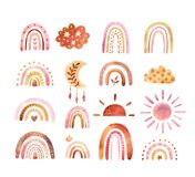Watercolor boho clipart for nursery decoration with cute rainbows and moon, sun, cloud. Doodle hand drawn illustration.
