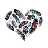 Watercolor boho feather heart Royalty Free Stock Photo