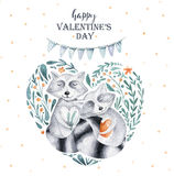Watercolor boho floral heart with raccoon. Watercolour bohemian Royalty Free Stock Photo